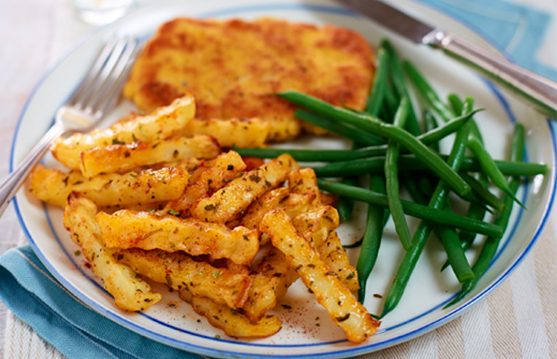Pork Schnitzel with Paprika and Mixed Herb Chips