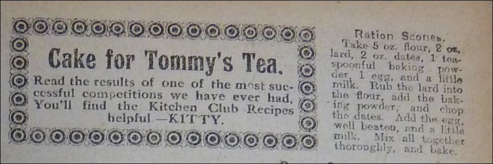 """Ration Scones recipe from """"The People's Friend"""" January 7, 1918"""